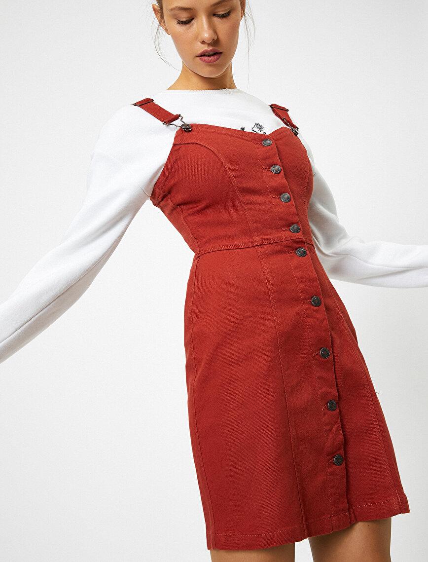 Düğme Detaylı, Tulum Elbise