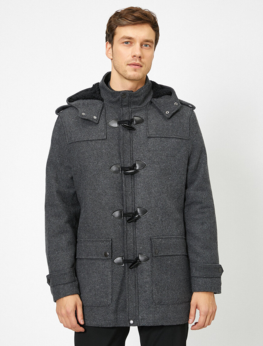 Button Detailed Hooded Coat