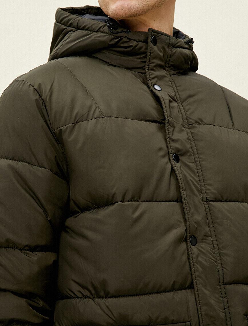 Hooded Pocket Detailed Zpper Puffer Coat