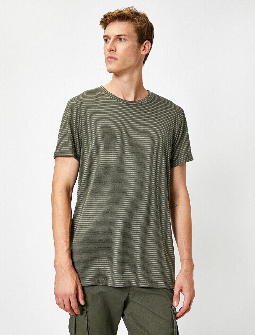 Çizgili Kısa Kollu Basic Tişört