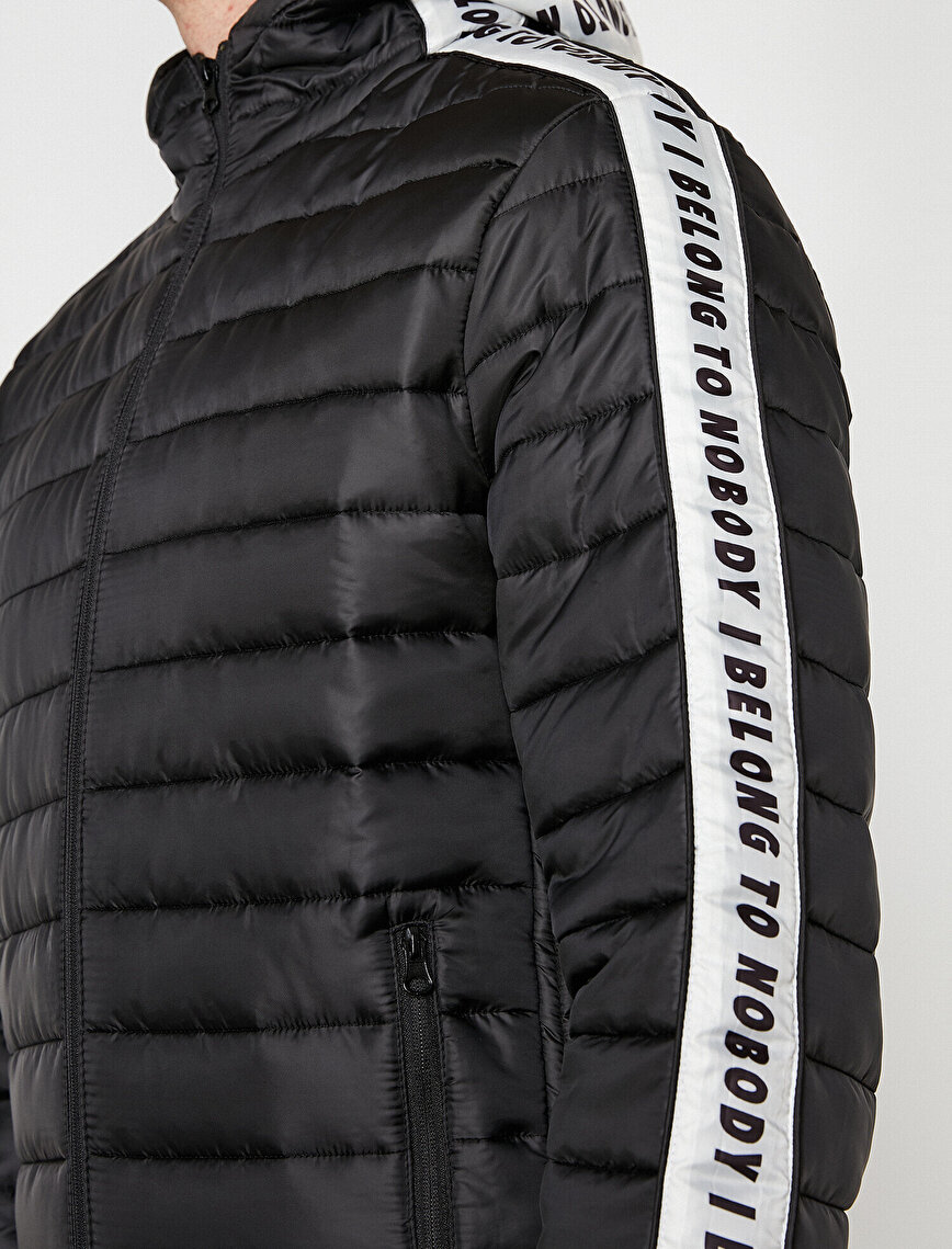 Letter Printed Puffer Coat