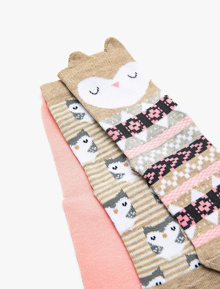3'lü Kız Çocuk Çorap