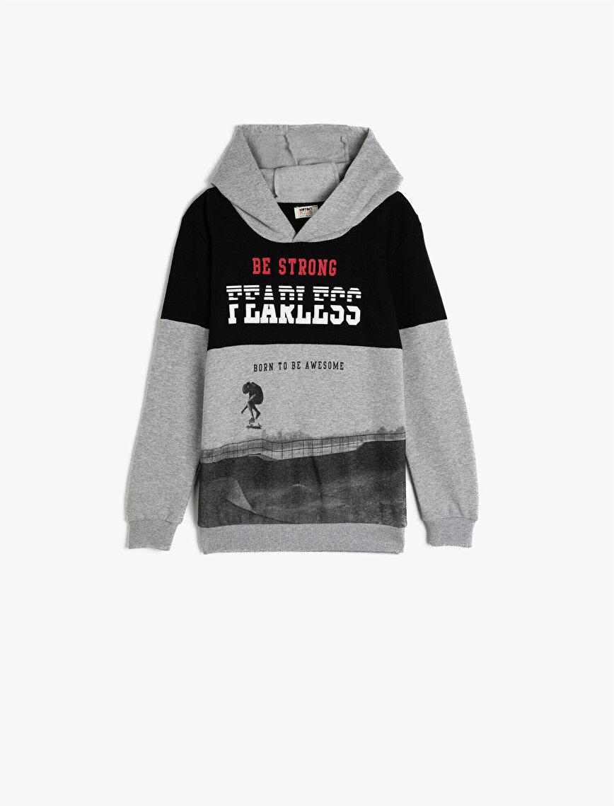 Yazılı Baskılı Uzun Kollu Kapüşonlu Sweatshirt