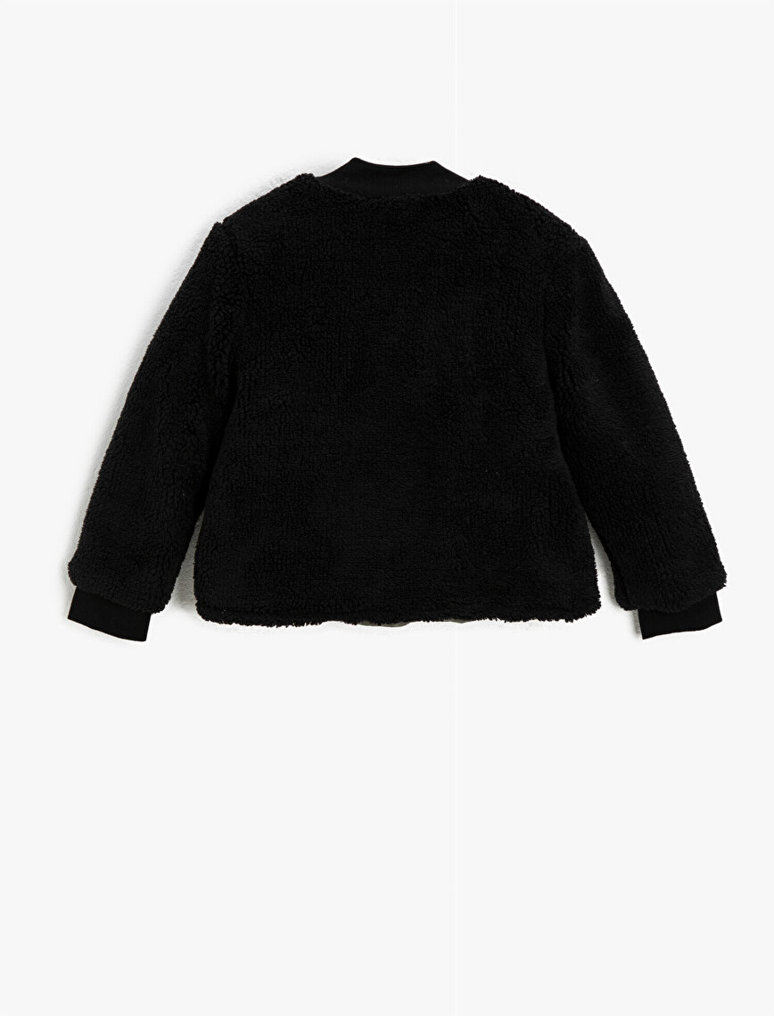 Plush Bomber Neck Button Detailed Sweatshirt
