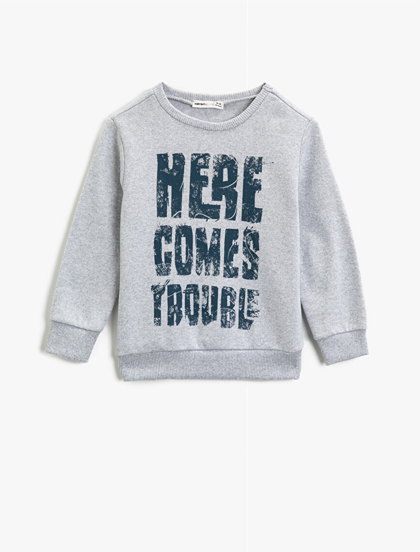 Cotton Crew Neck Letter Printed Sweatshirt