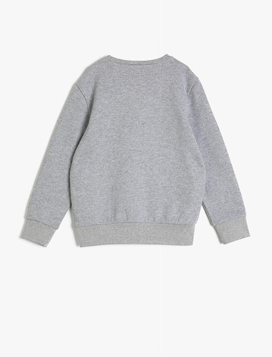 Cotton Printed Crew Neck Long Sleeve Sweatshirt