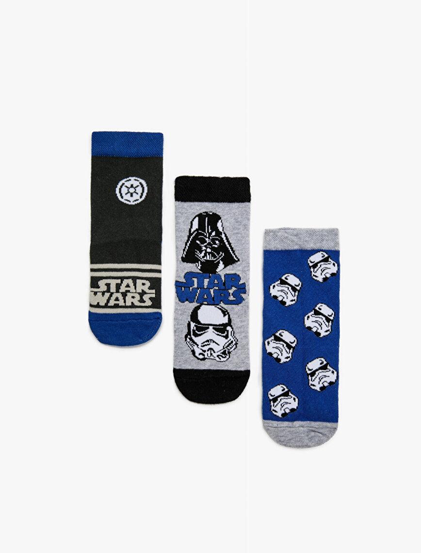 3'lü Star Wars Lisanslı Baskılı Çorap