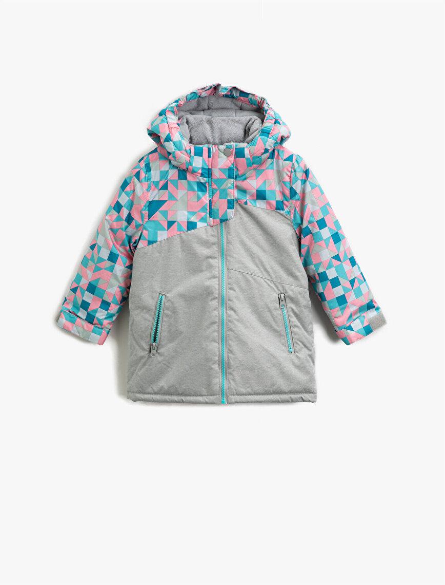 Hooded Geometric Printed Zipper Inside Pocket Inside Polar Lined Coat