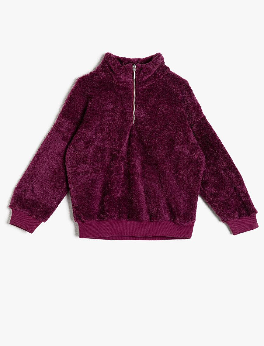 Fermuar Detaylı Peluş Sweatshirt