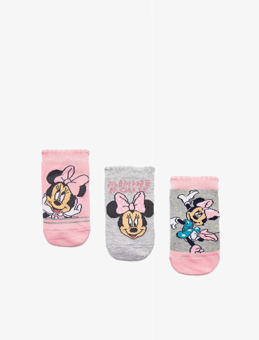 Kız Çocuk Minnie Mouse Çorap Seti Lisanslı Desenli Pamuklu