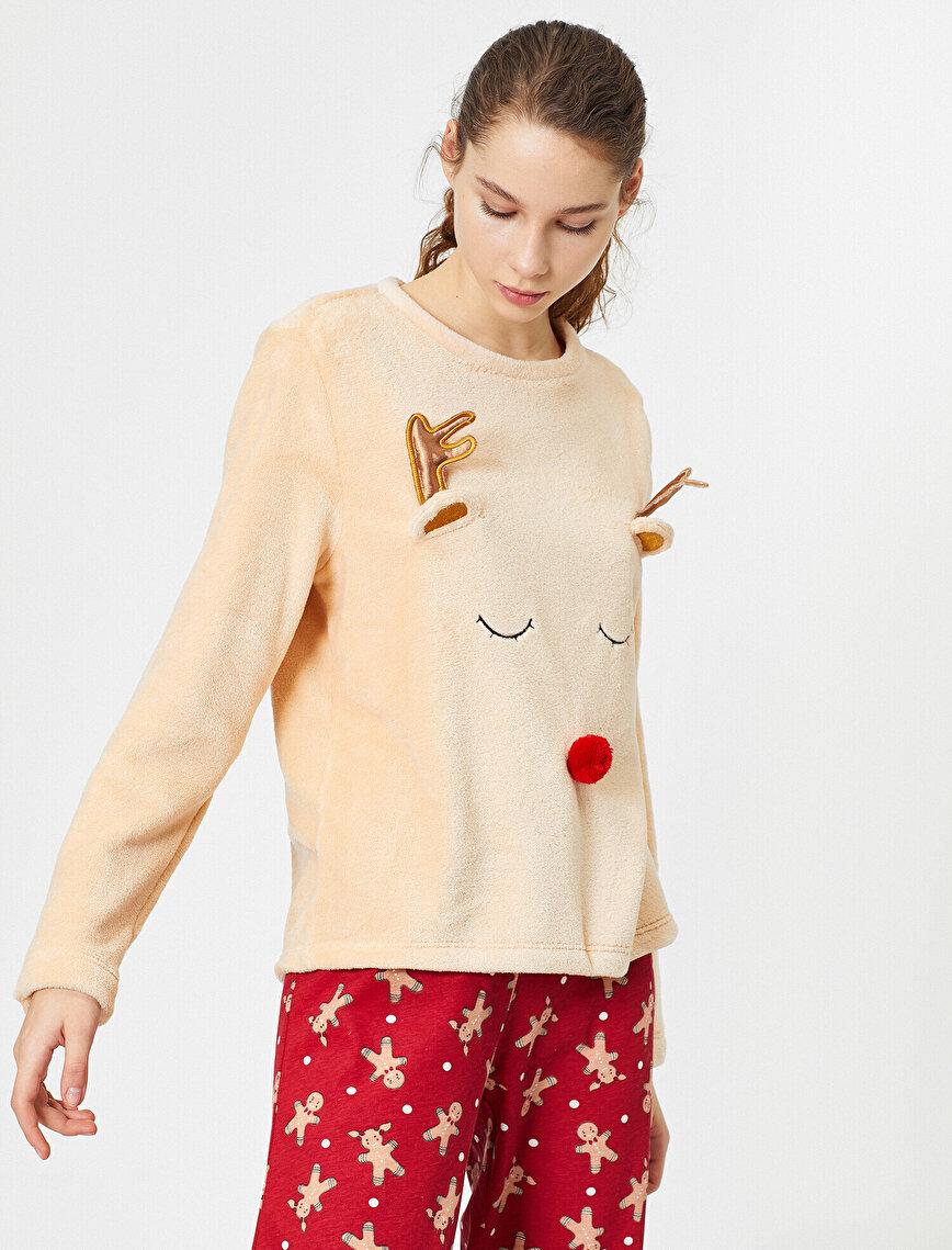 İşlemeli Pijama Üstü