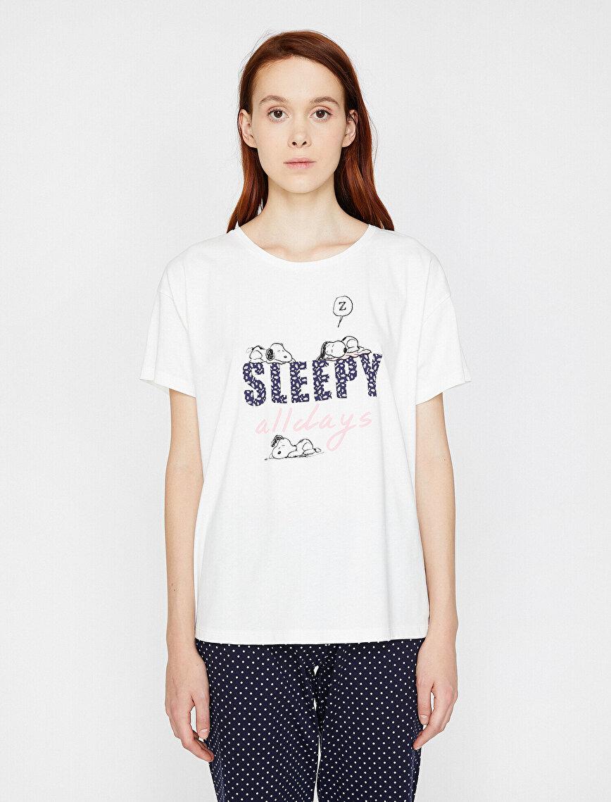 Snoopy Lisanslı Yazılı Baskılı Pijama Takımı