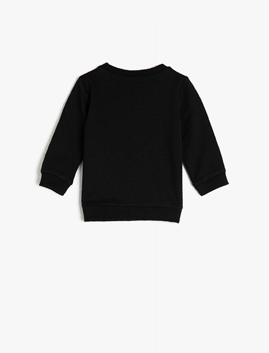 Cotton Long Sleeve Crew Neck Animal Printed Sweatshirt
