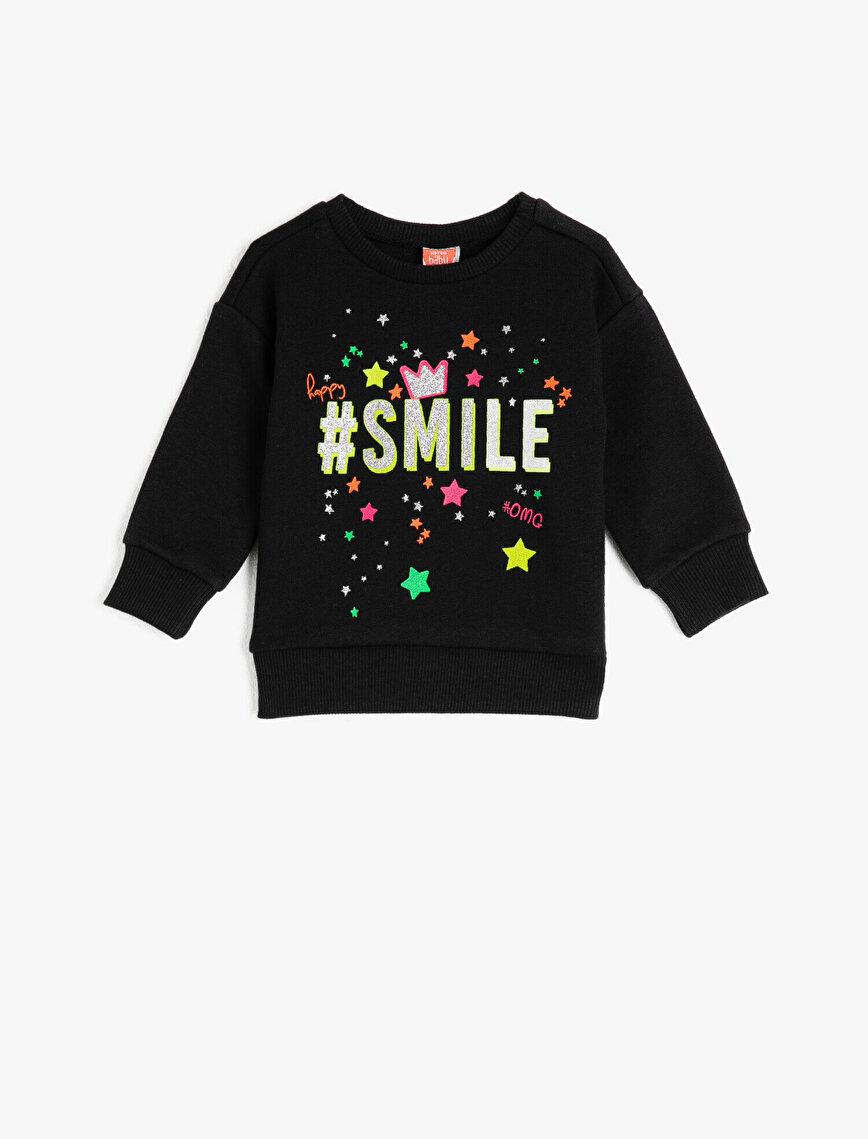 Sim Baskılı Sloganlı Uzun Kollu Sweatshirt