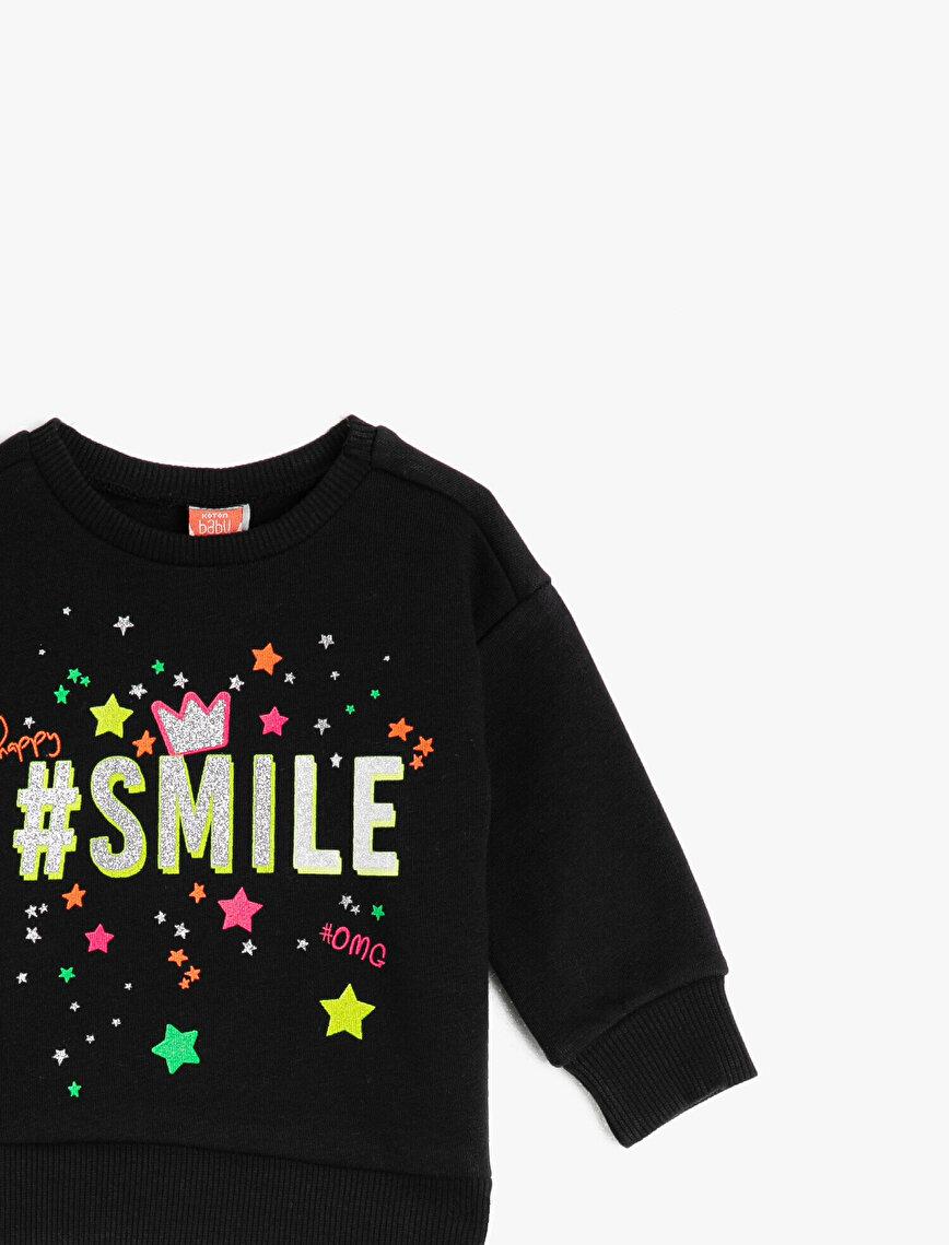 Glitter Printed Slogan Long Sleeve Sweatshirt