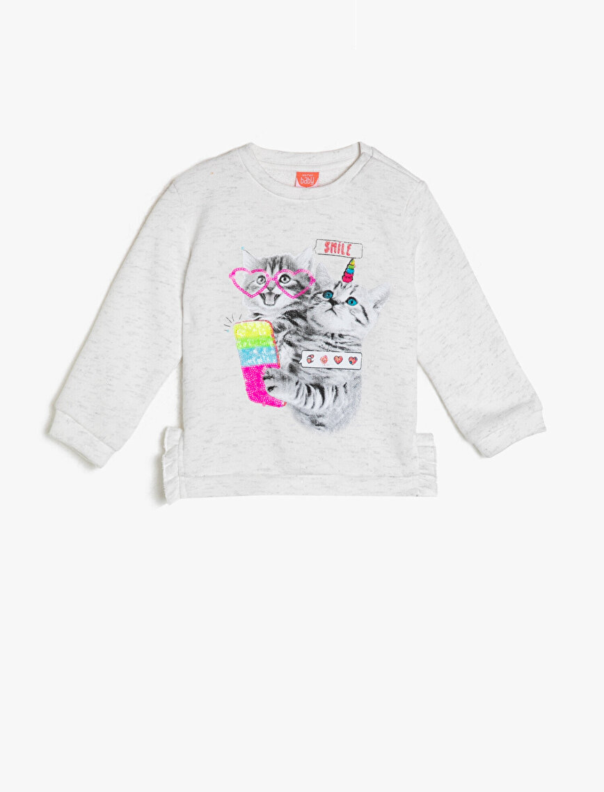Crew Neck Long Sleeve Printed Sweatshirt