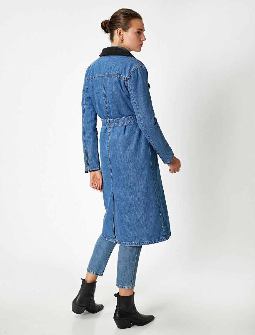 Kürklü Yaka Kemerli Oversize Uzun Kot Ceket