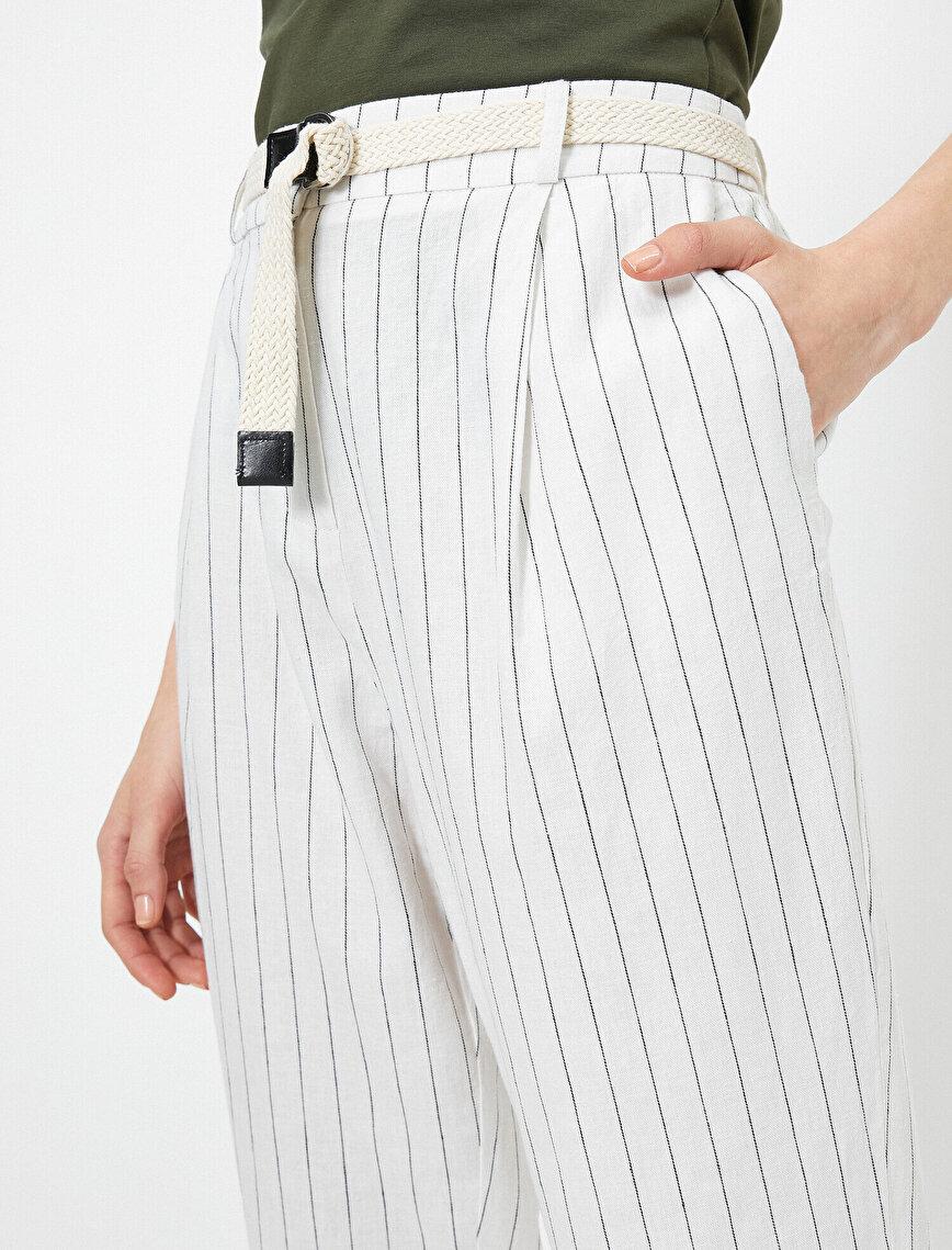 Kemer Detaylı Keten Karışımlı Çizgili Pantolon
