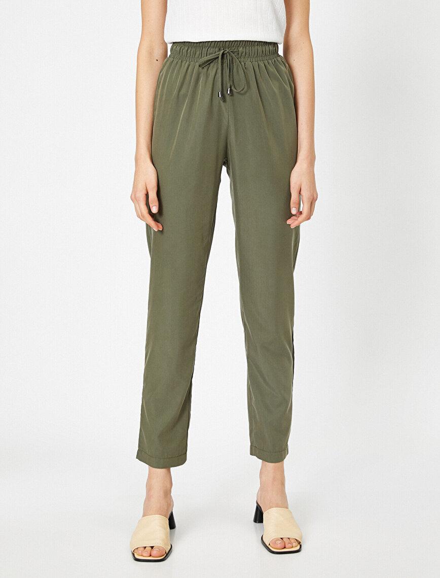 Bağcık Detaylı Düşük Bel Rahat Kesim Pantolon