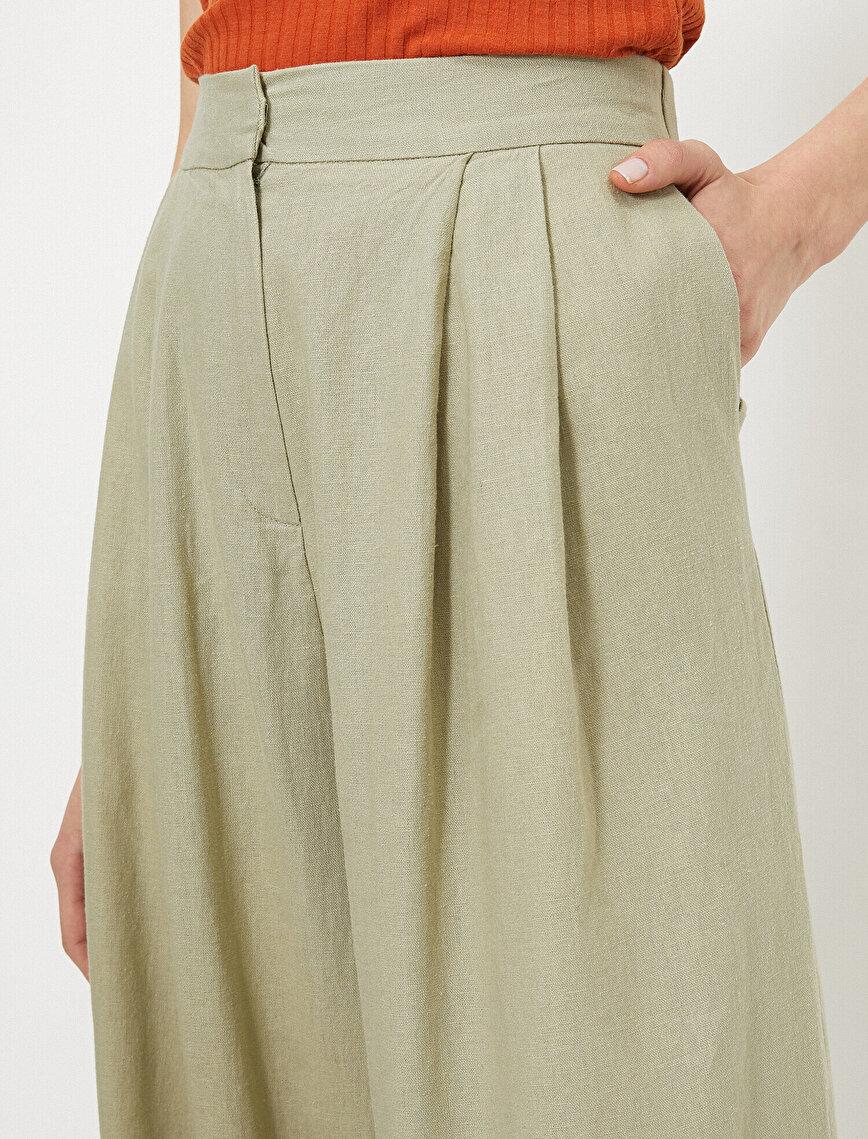 Yüksek Bel Geniş Paça Keten Karışımlı Pantolon