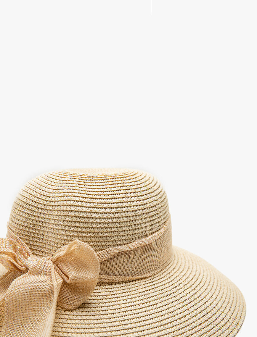 Bow Detailed Floopy Straw Hat