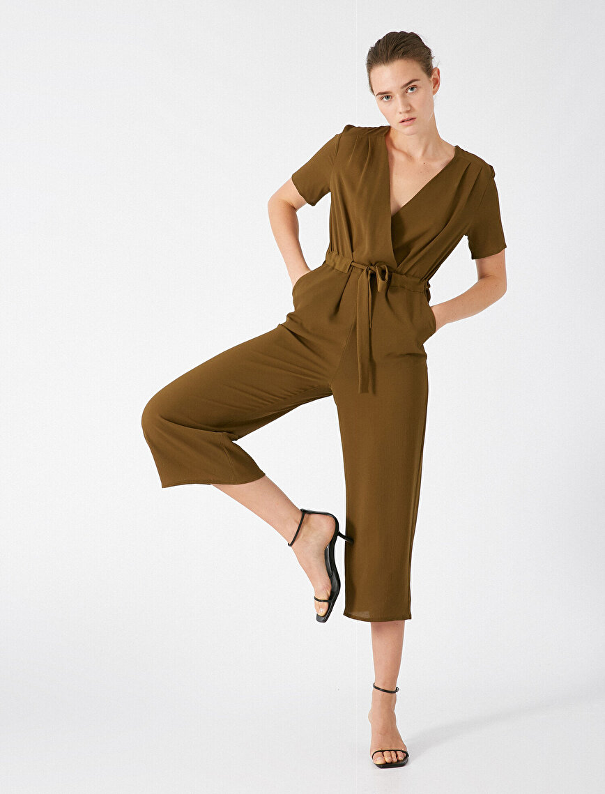 Short Sleeve V Neck Belted Jumpsuit