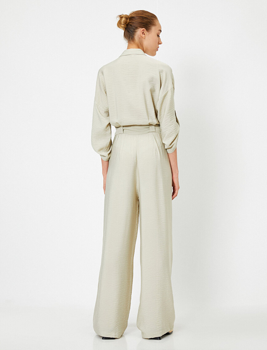 Pocketed Buttoned Belted Jumpsuit
