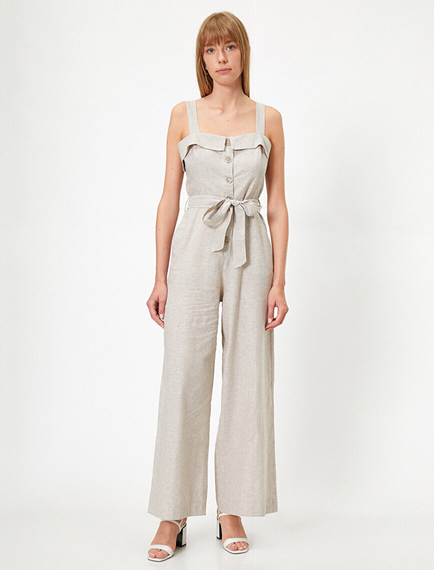 Strapped Striped Lace Up Jumpsuit