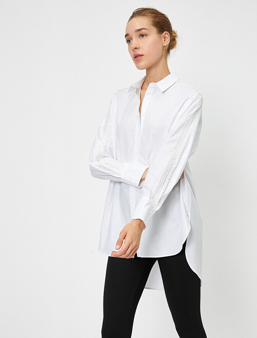 Poplin Bluz Gömlek Yaka Uzun Kollu
