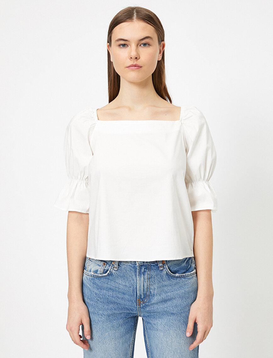 Poplin Volan Detaylı Bluz