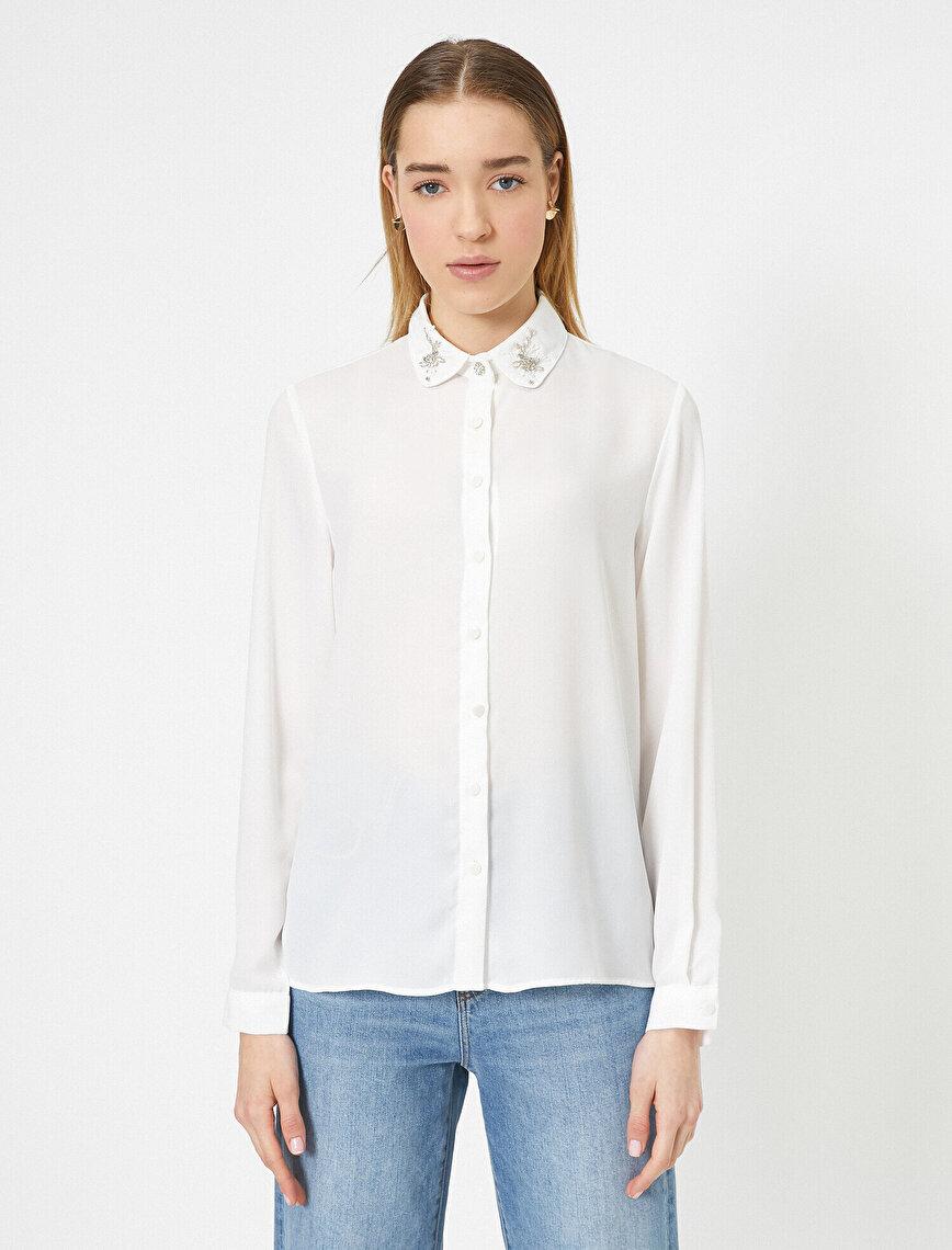 Yaka Detaylı Klasik Yaka Taş Detaylı Gömlek