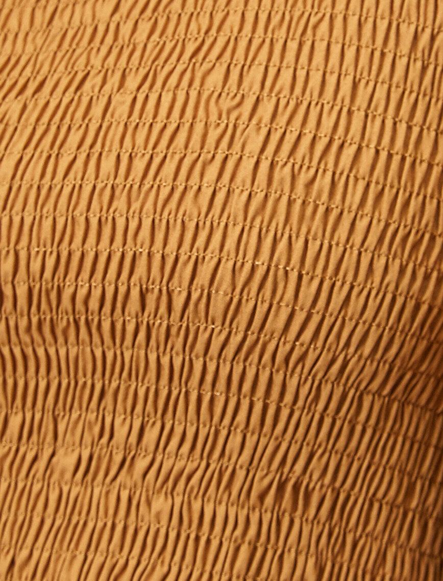 Uzun Kollu Gipe Detaylı Poplin Bluz