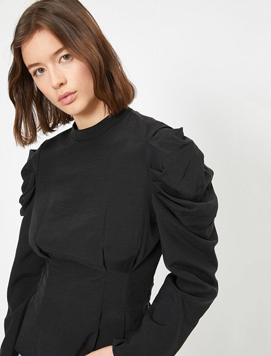 Volan Detaylı Poplin Bluz