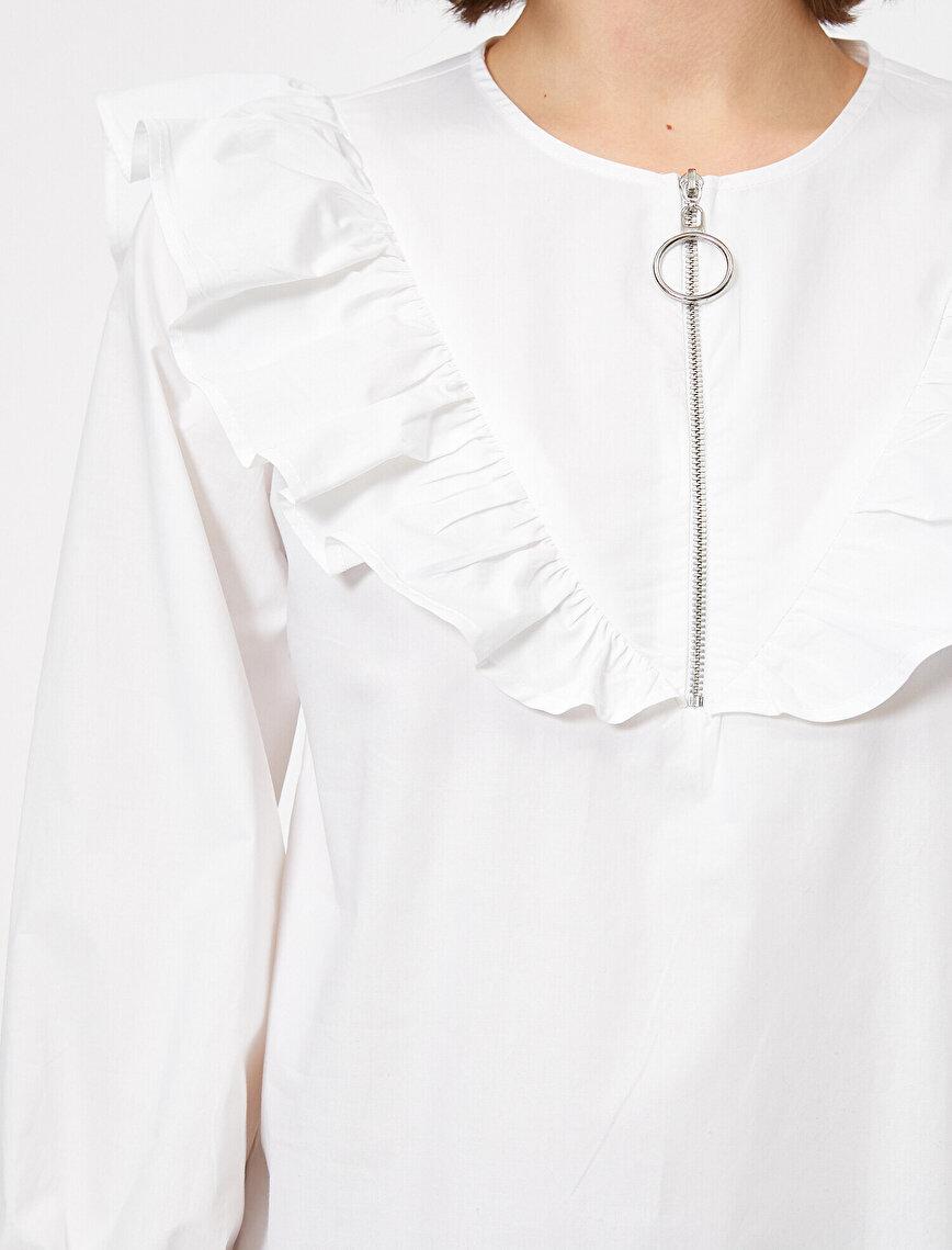 Fermuar Detaylı Volanlı Poplin Bluz