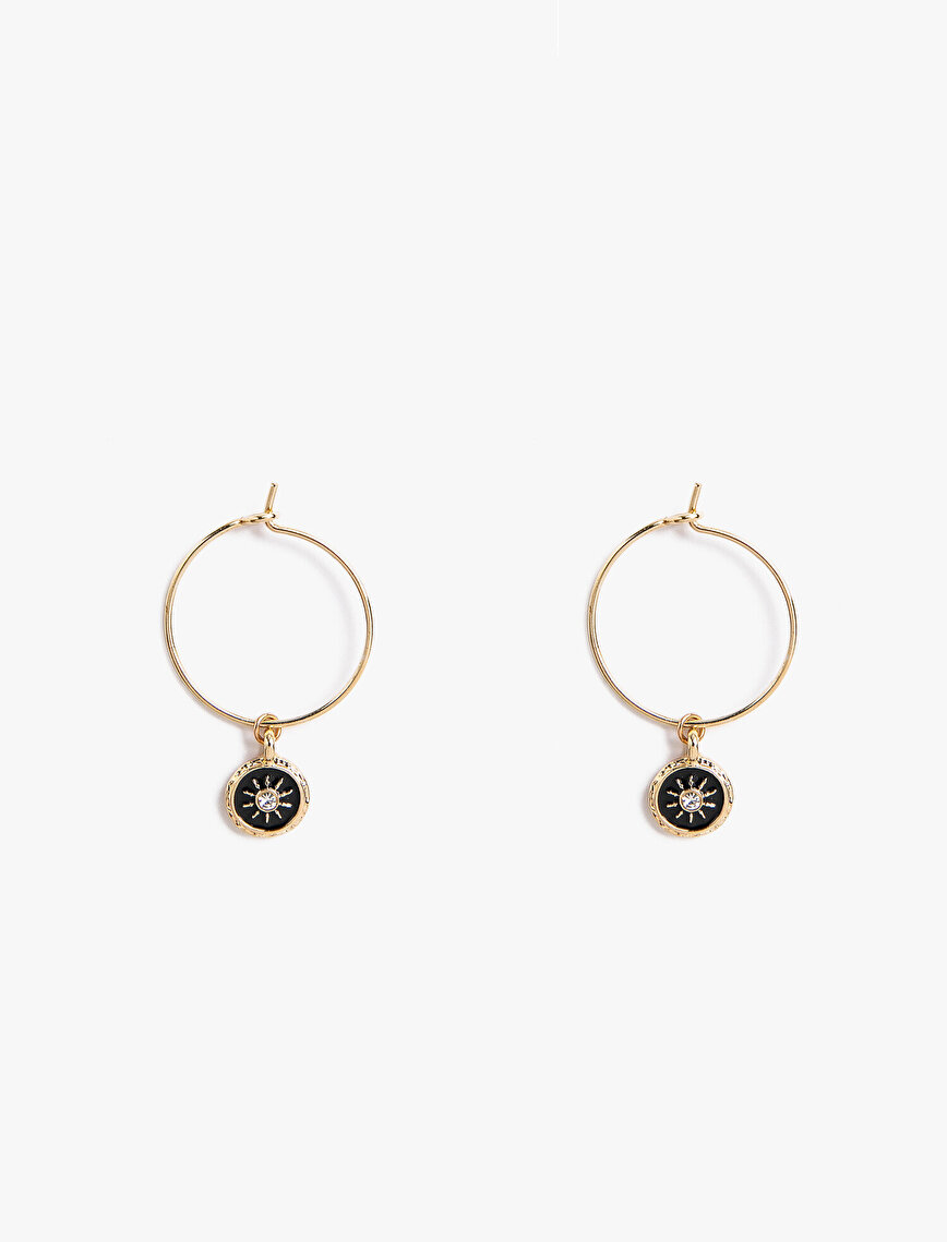 Stone Metallic Hoop Earrings