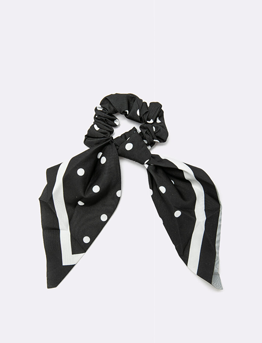 Polka Dotted Fabric Hair Tie