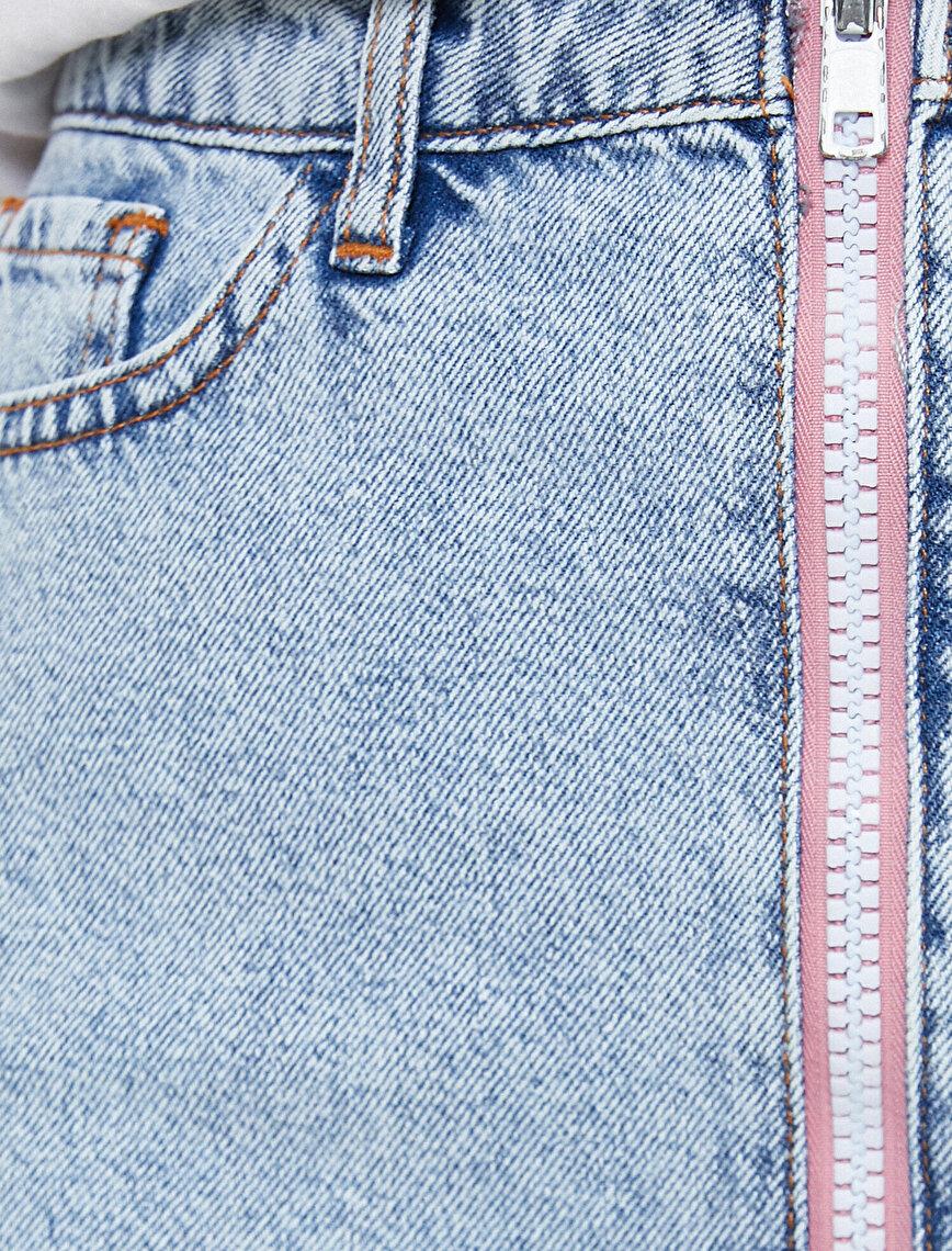Zipper Detailed Jean Skirt