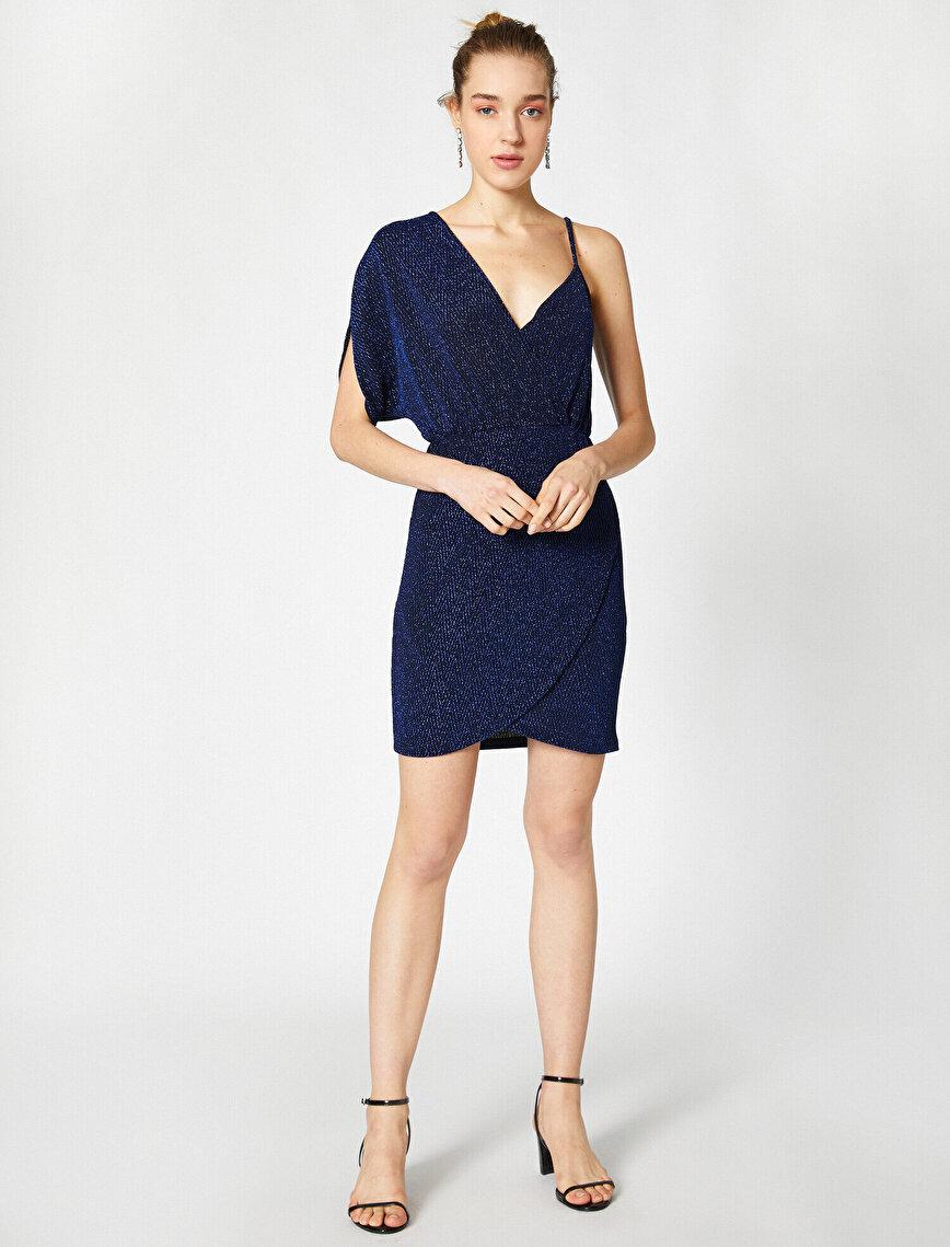 Simli Tek Omuz Anvelop Kamisol Mini Elbise Abiye