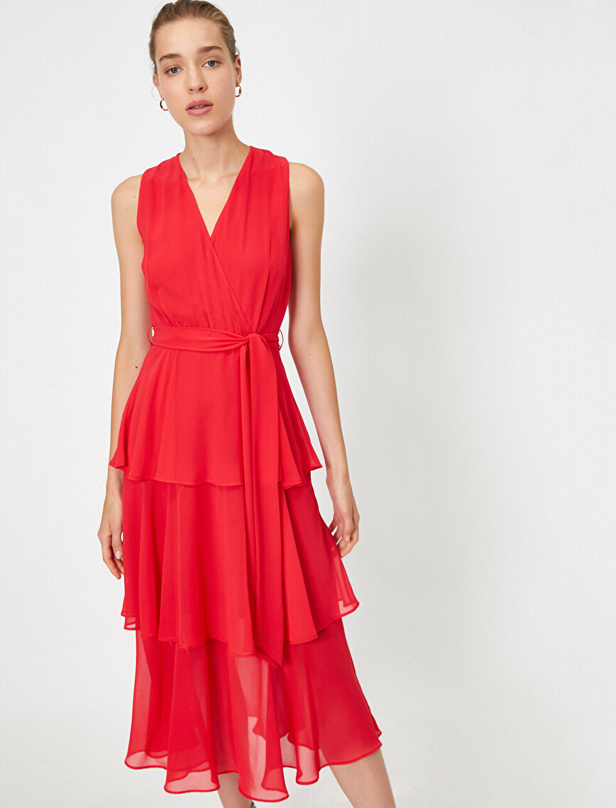 Fırfırlı Şifon Kemerli Elbise