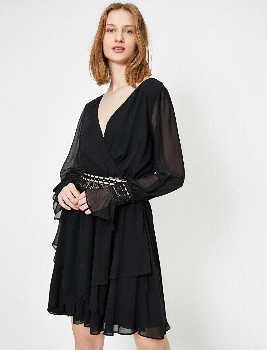 Dantel ve Sırt Detaylı Fırfırlı Şifon Mini Elbise