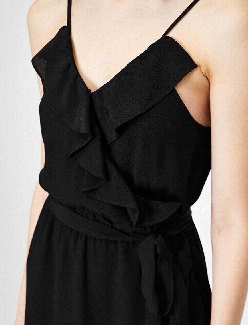 Askılı Volan Elbise