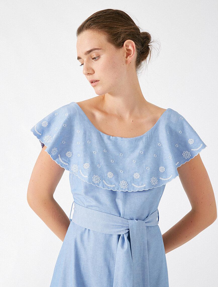 Poplin Elbise Kısa Kollu Işlemeli Kemerli