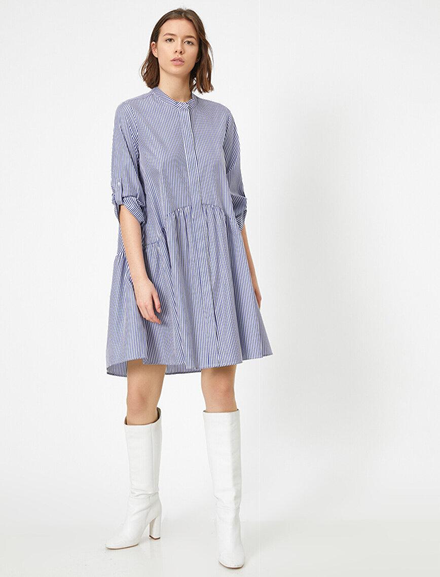 Çizgili Poplin Elbise