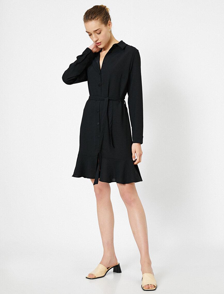 Eteği Volan Detaylı Gömlek Elbise