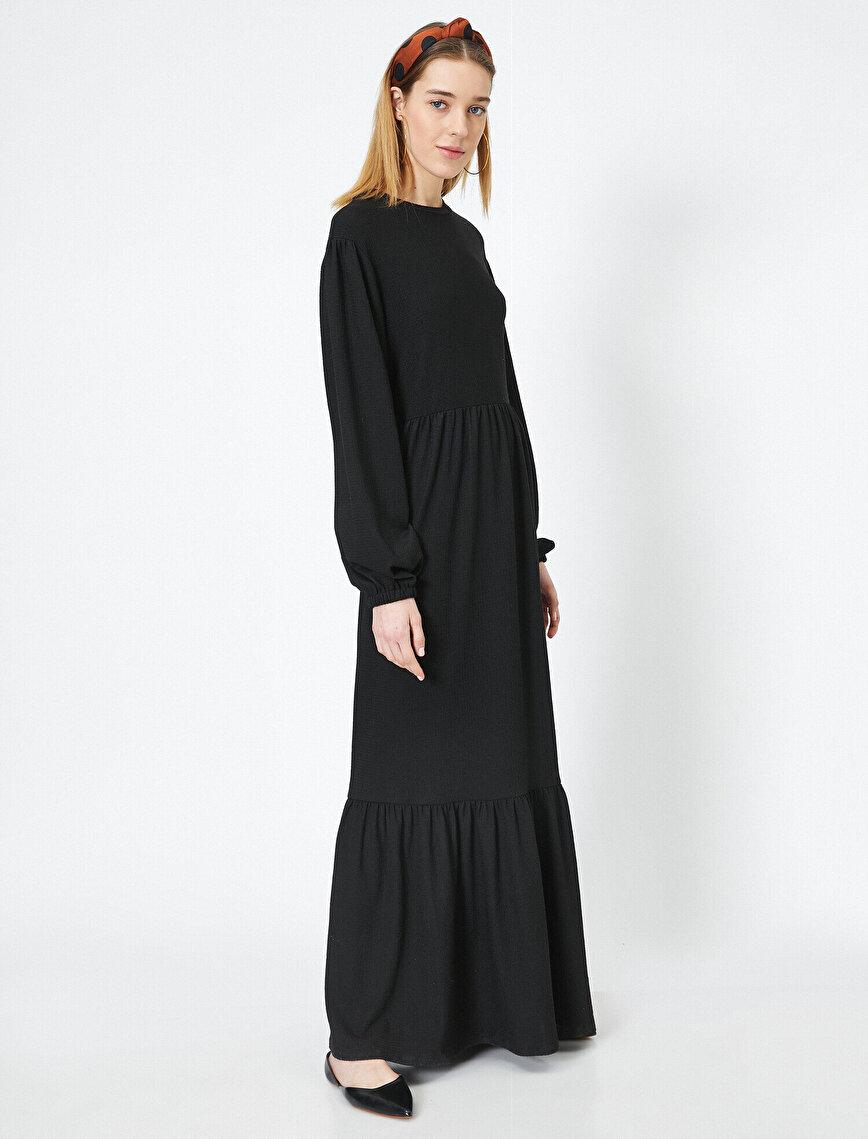 Kolları Büzgülü Volan Detaylı Uzun Elbise