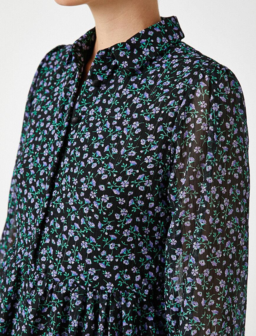Düğmeli Çiçekli Uzun Kollu Kısa Elbise
