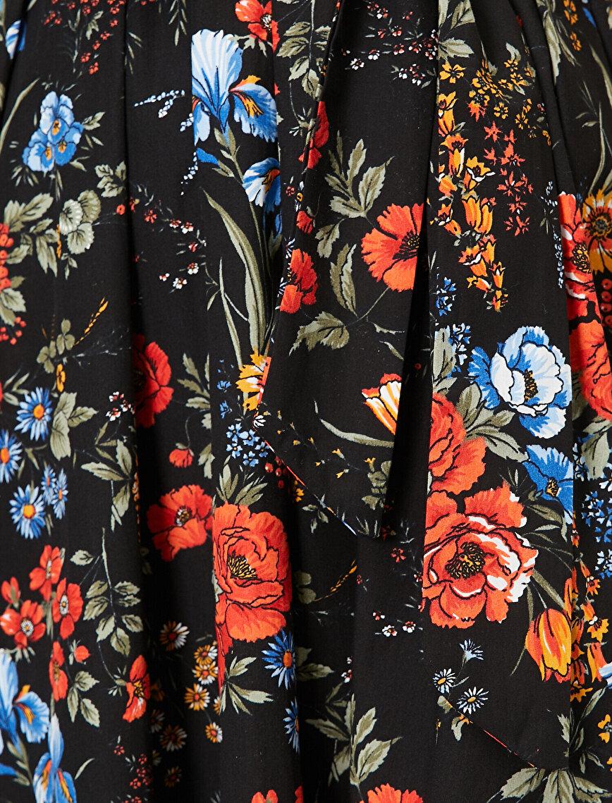 Çiçek Desenli Poplin Elbise