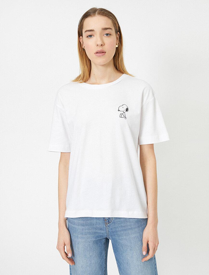 Snoopy Baskılı Bisiklet Yaka Kısa Kollu Lisanslı Tişört