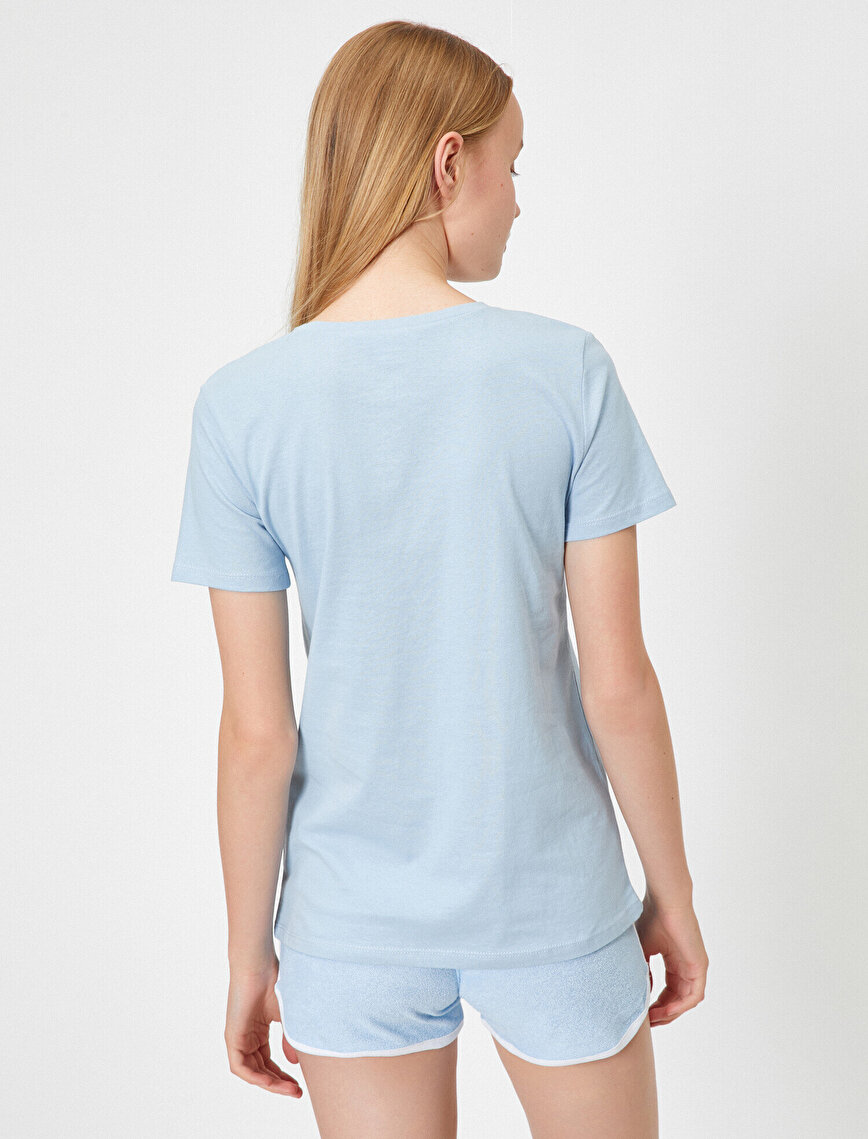Cotton Short Sleeve Letter Printed T-Shirt
