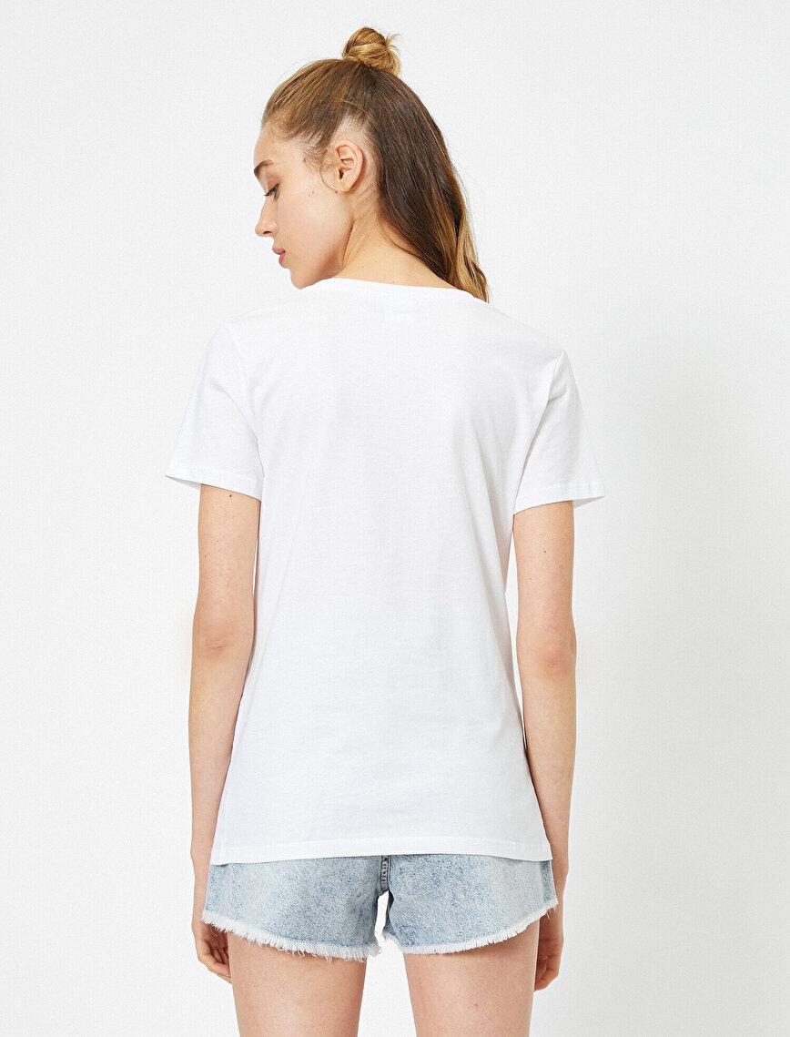 Short Sleeve Printed Detailed Round Neck T-Shirt